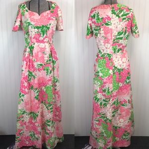 Vtg Posh Jay Anderson Floral Maxi Gown Dress 60s